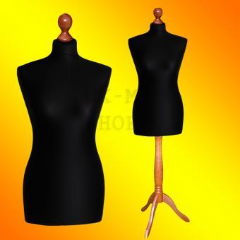 Schneiderpuppe weiblich, Bezug schwarz, Holzdreibein Buche