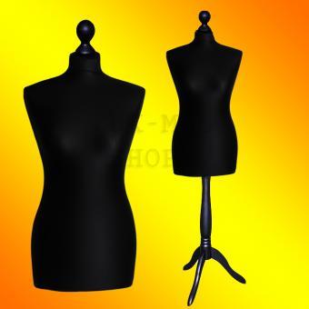 Schneiderpuppe weiblich, Bezug schwarz, Holzdreibein Schwarz