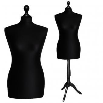 Schneiderpuppe weiblich, Bezug schwarz, Holzdreibein schwarz 48/50