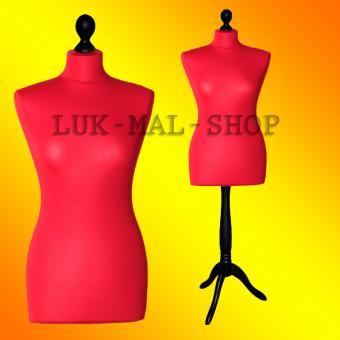 Schneiderpuppe weiblich, Bezug rot, Holzdreibein schwarz