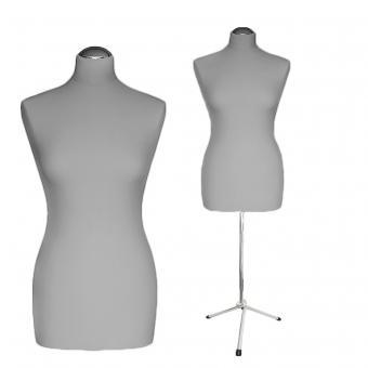 Schneiderpuppe weiblich, Bezug silbergrau, Chromgestell, Dreibein