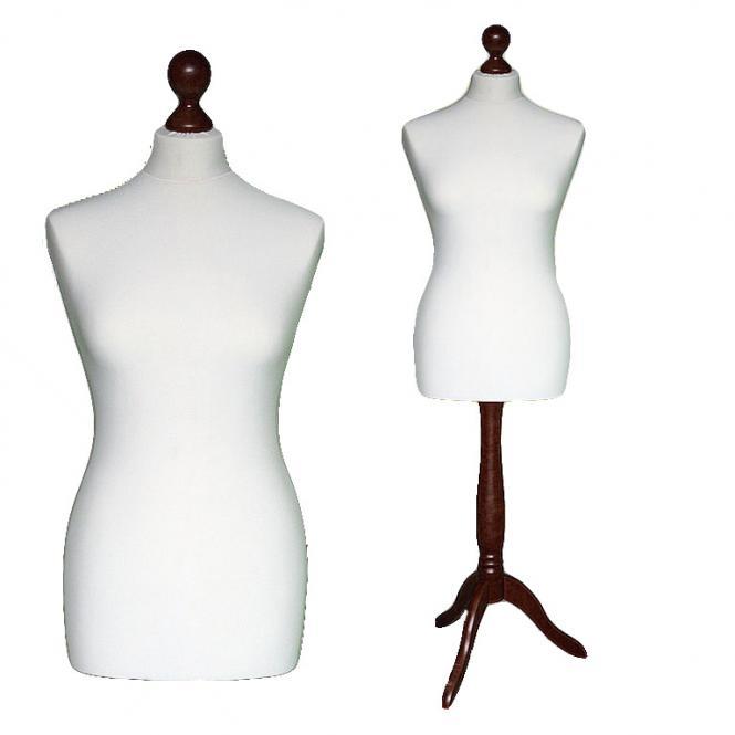 Schneiderpuppe weiblich, Bezug creme, Holzdreibein Ebenholz