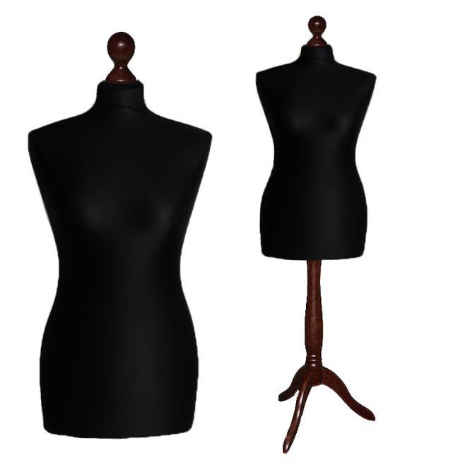 Schneiderpuppe weiblich, Bezug schwarz, Holzdreibein Ebenholz