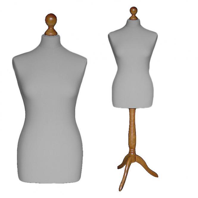 Schneiderpuppe weiblich, Bezug silbergrau, Holzdreibein buche