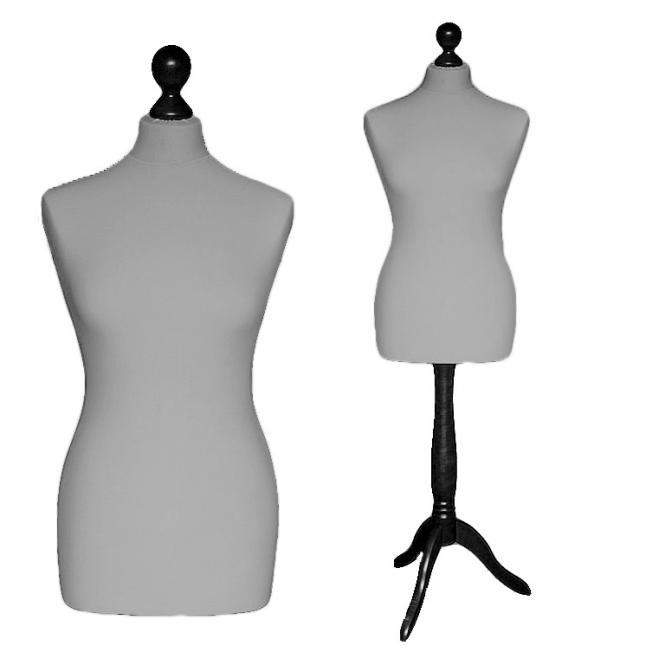 Schneiderpuppe weiblich, Bezug silbergrau, Holzdreibein schwarz