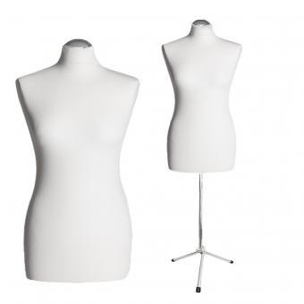 Schneiderpuppe weiblich, Bezug creme, Chromgestell, Dreibein