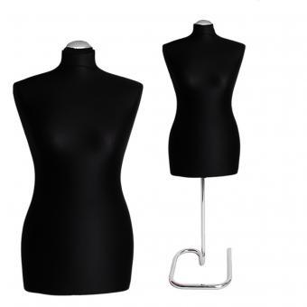 Schneiderpuppe weiblich, Bezug schwarz, Chromschnecke