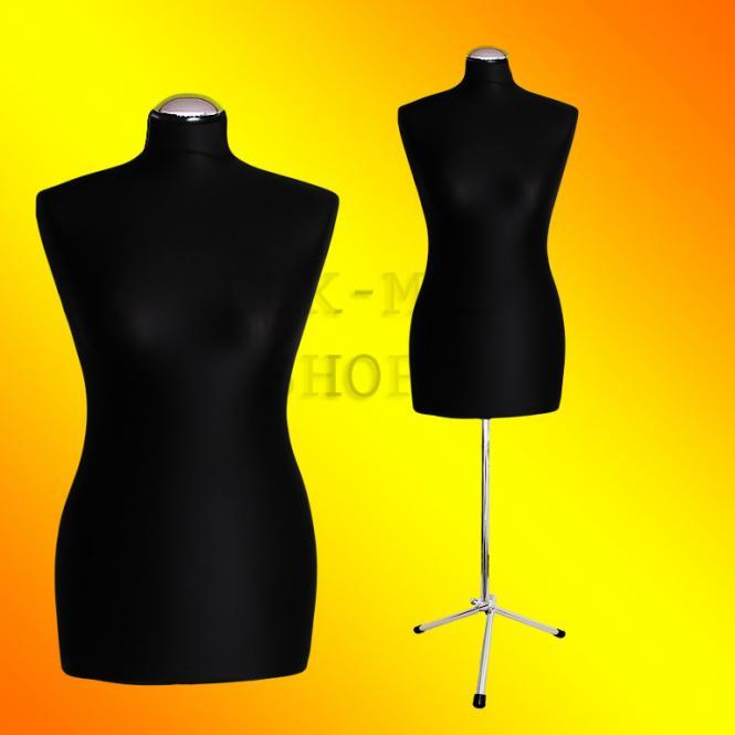 Schneiderpuppe weiblich, Bezug schwarz, Chromgestell, Dreibein